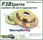 Range Rover P38 MKII Terrafirma Front Vented Crossed Drilled & Grooved Brake Discs (Pair) 95-02