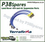 Land Rover Defender 90/110/130 (No ABS) Terrafirma XTL +2 Inch Range Stainless Steel Braided Brake Hoses 94-04