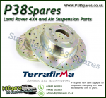 Discovery 1 & Range Rover Classic Terrafirma Cross Drilled & Grooved Front Solid Brake Discs (Pair)